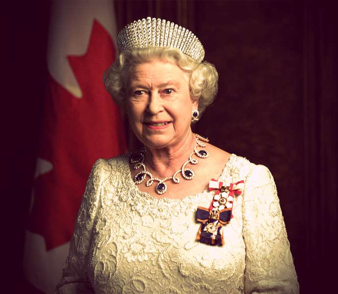 Queen Elizabeth II wearing Alexandra's kokoshnik tiara with a sapphire necklace and a white formal gown.