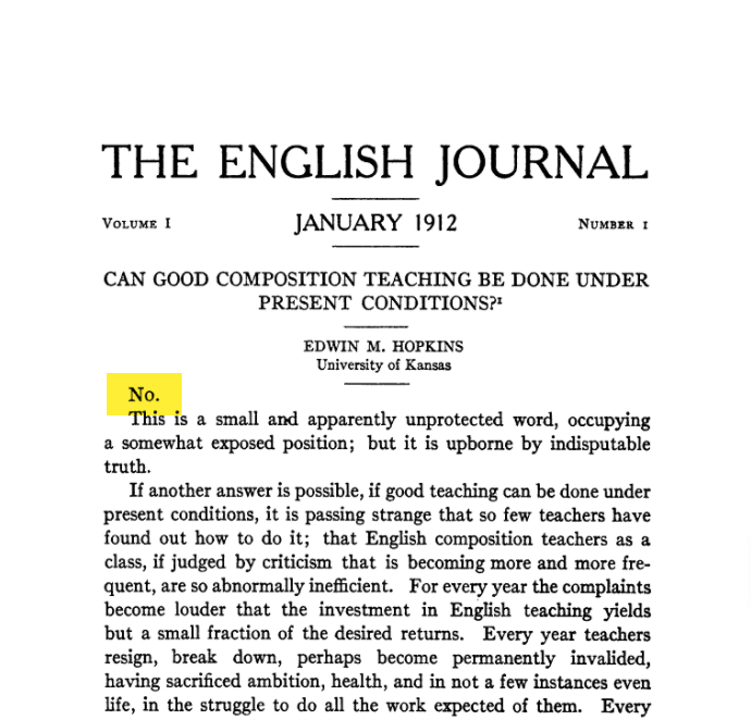 """Screenshot of Edwin H. Hopkins' article, """"Can Good Composition Teaching Be Done Under Present Conditions"""" from 1912."""