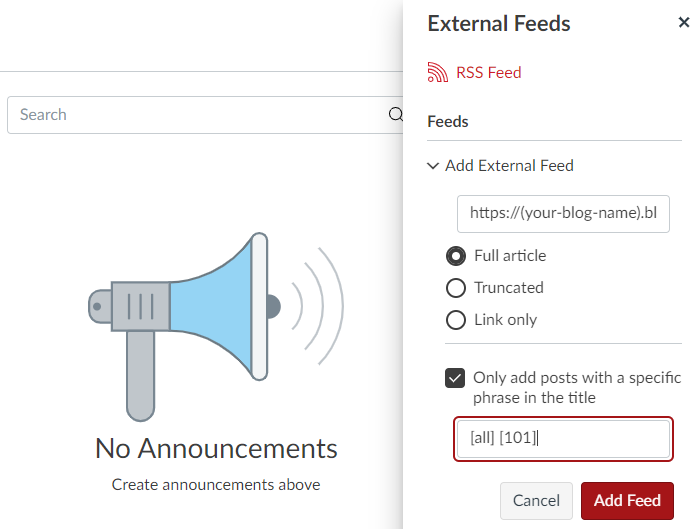 A screenshot of Canvas showing how to set your external feed settings