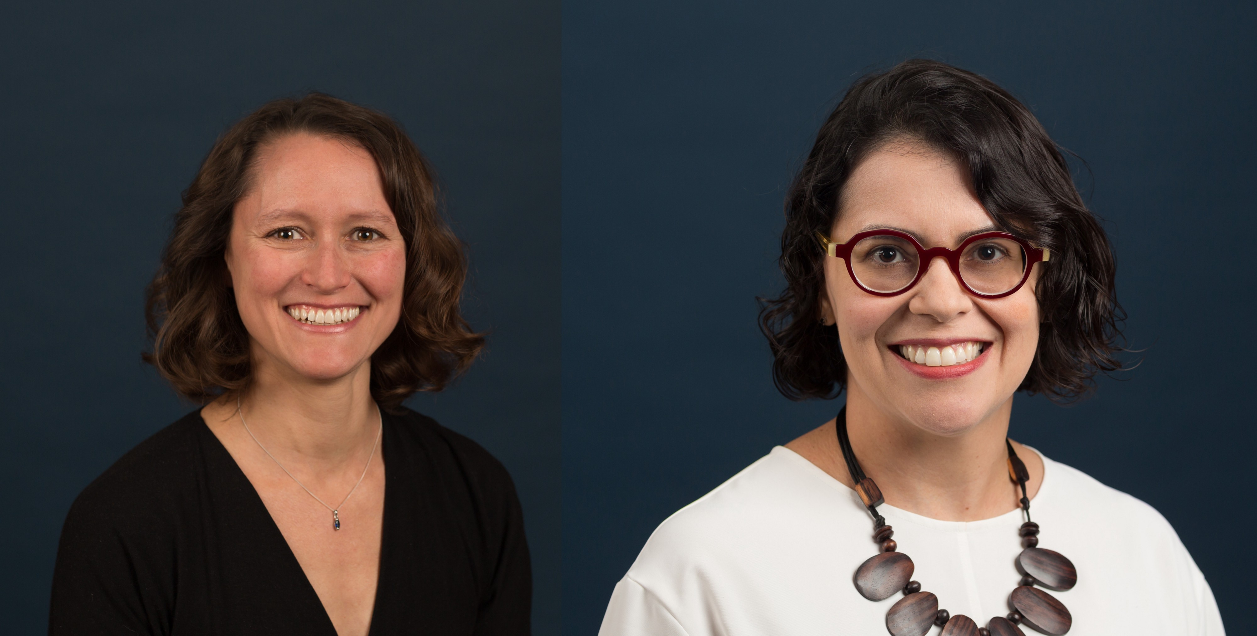 Outgoing Planet Texas 2050 Chair Heather Houser (left) and new Planet Texas 2050 Chair Fernanda Leite (right).