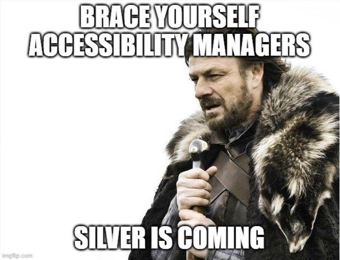 Ned Stark Game of Thrones meme — Brace yourself Accessibility Managers Silver is Coming