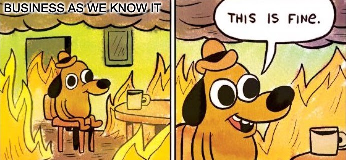 Meme of a dog sitting in a burning living room (business as we know it) pretending everything is fine