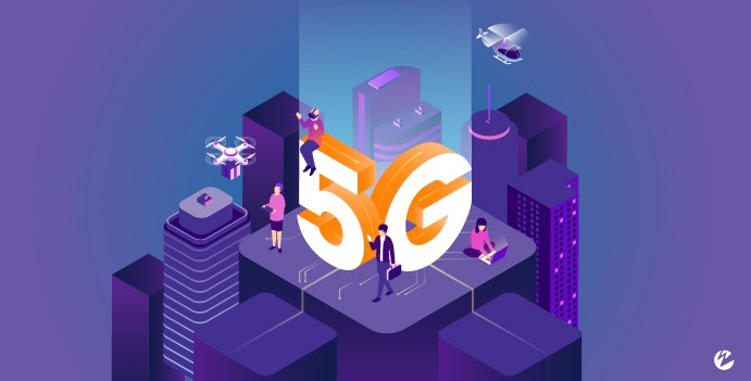 Graphic of a smart city with mobile users, an autonomous drone, viewer of a live stream, and a person wearing a VR headset with the text 5G.
