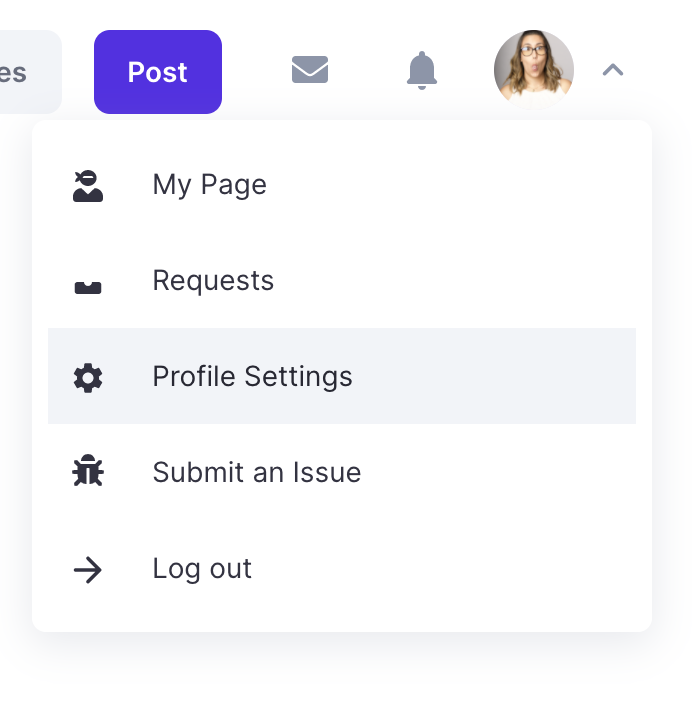 a screenshot of the settings options from Polywork when clicking on your profile image.