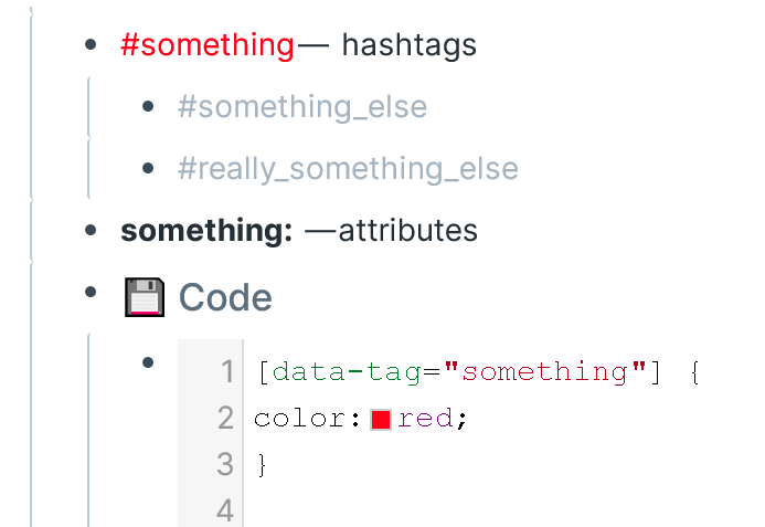 Example of the simplest formatting of hashtags in Roam