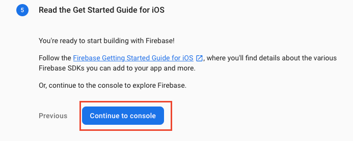 Finishing up the add app to Firebase process