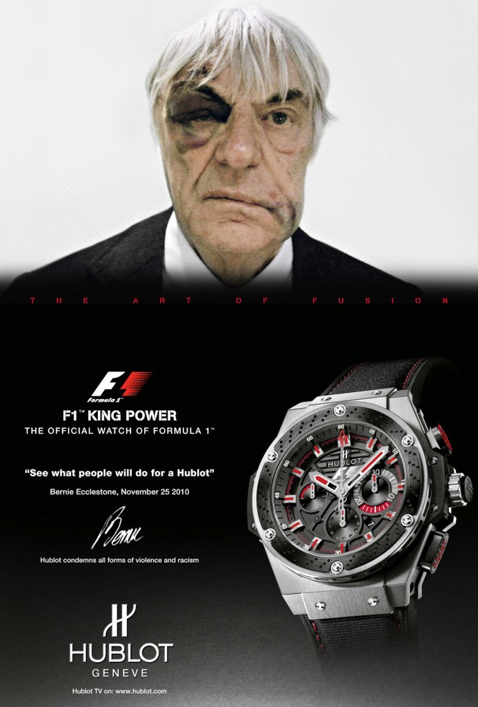 Hublot's controversial ad in collaboration with Formula 1 head Bernie Ecclestone after being mugged