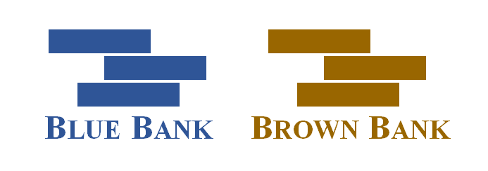 A Blue Bank logo on the left and a Brown Bank logo on the right.