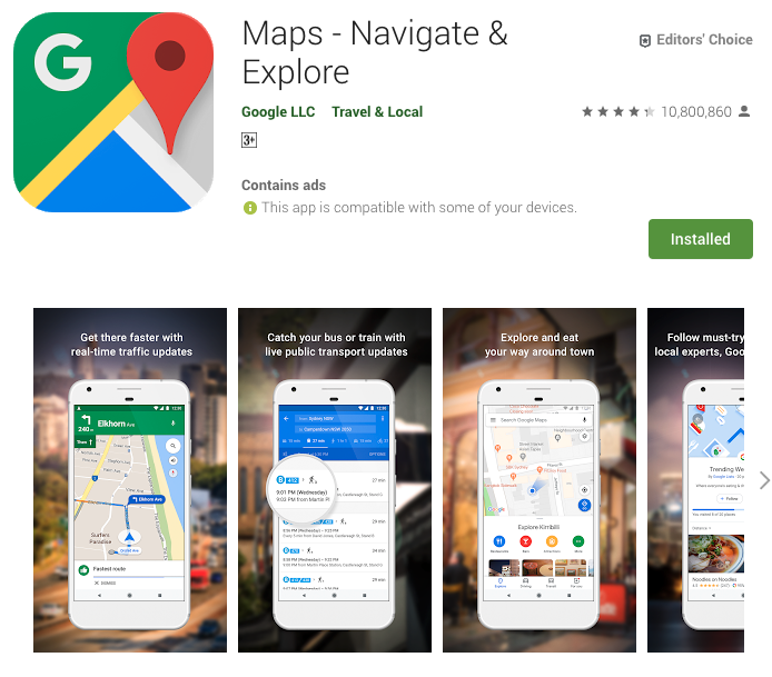 Google Maps Play Store Page