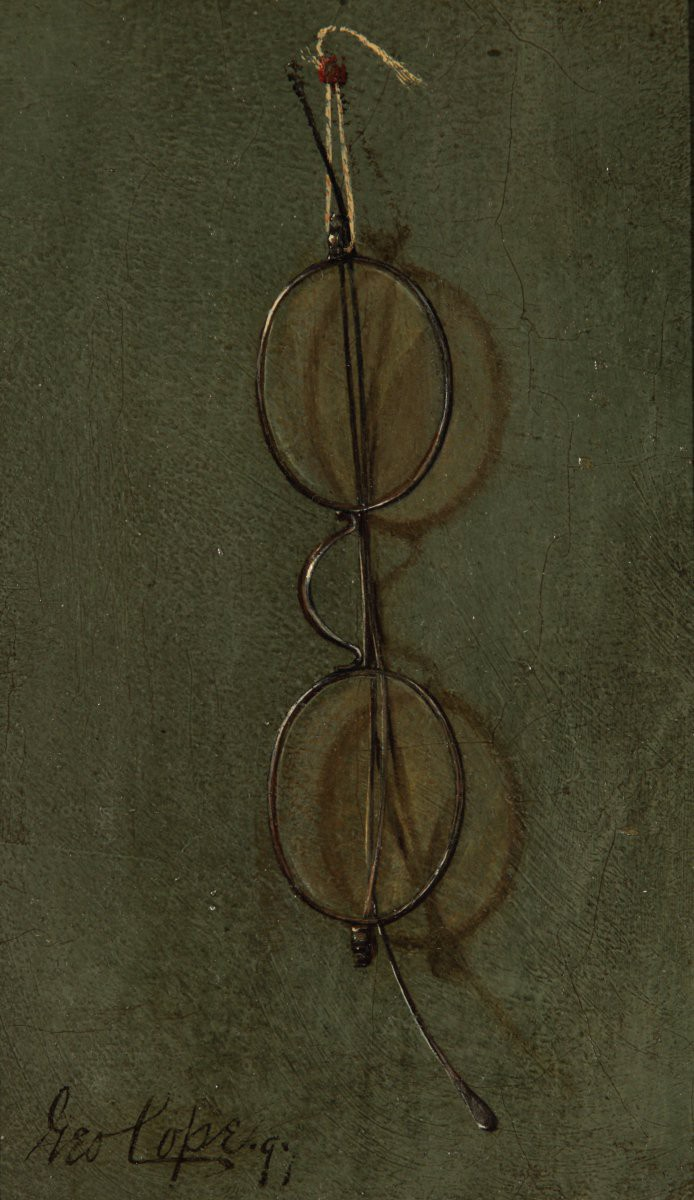Highly realistic painting of a pair of old fashioned spectacles hanging on a wall.