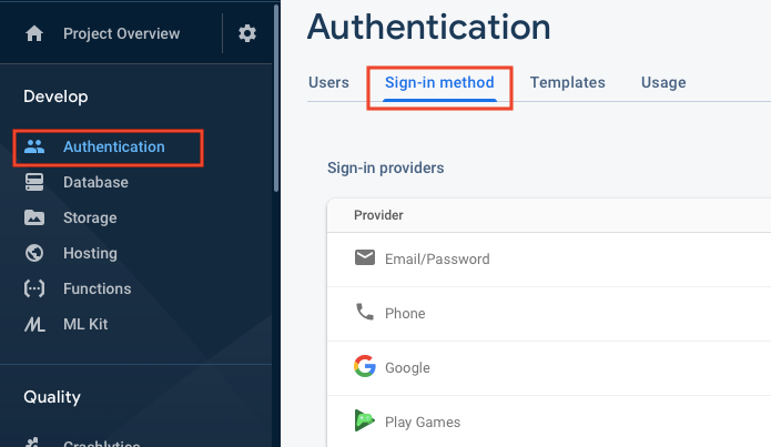 Sign-in method in Firebase Console
