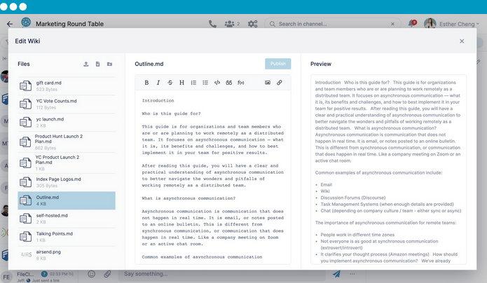 AirSend offers collaborative Markdown Wiki and task management.