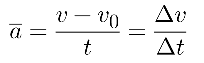 Acceleration (a) is the change in velocity (Δv) over the change in time (Δt), represented by the equation a = Δv/Δt.