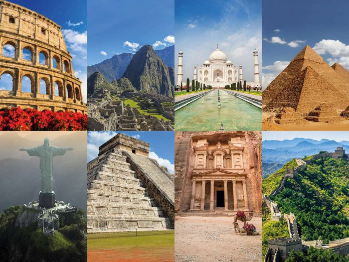 An image depicting the eight wonders of the modern world.