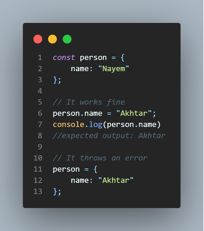 declaring with const