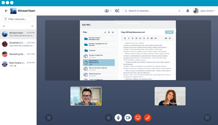 AirSend's voice and video call and collaborative editing.