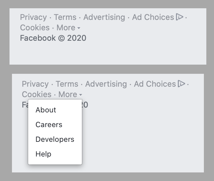 """Screenshot of the Facebook website's footer. No """"do not sell"""" link exists, even under the """"more"""" tab."""