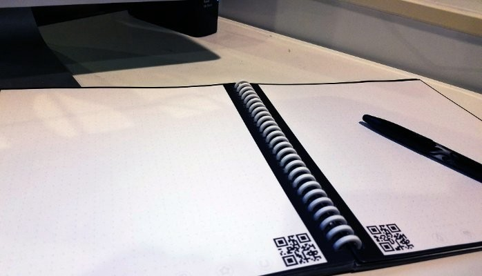 Blank pages in a Rocketbook notebook