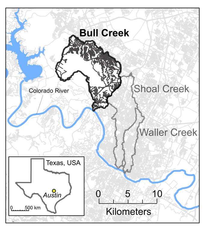 A map showing the range of Bull Creek watershed in Austin, Texas.