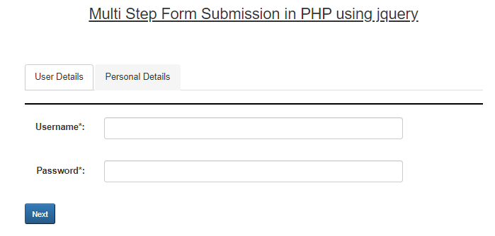 Create Multi-Step Form Submission In PHP Using JQuery