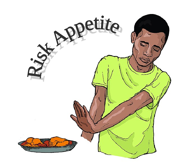 """a person refusing a meal with a title """"Risk Appetite"""""""