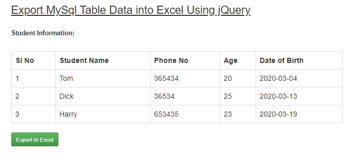 How To Export MySQL Table Data Into Excel Using jQuery