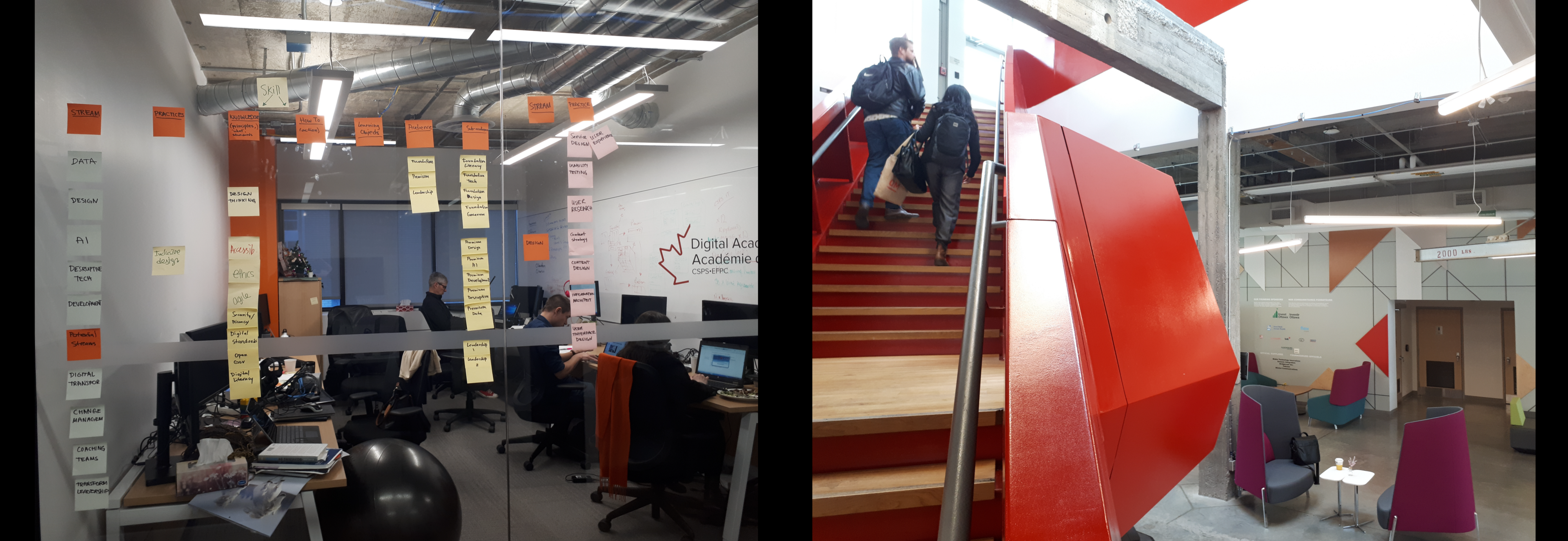 Photos of the first Digital Academy office and the new space at Bayview Yards, side by side.