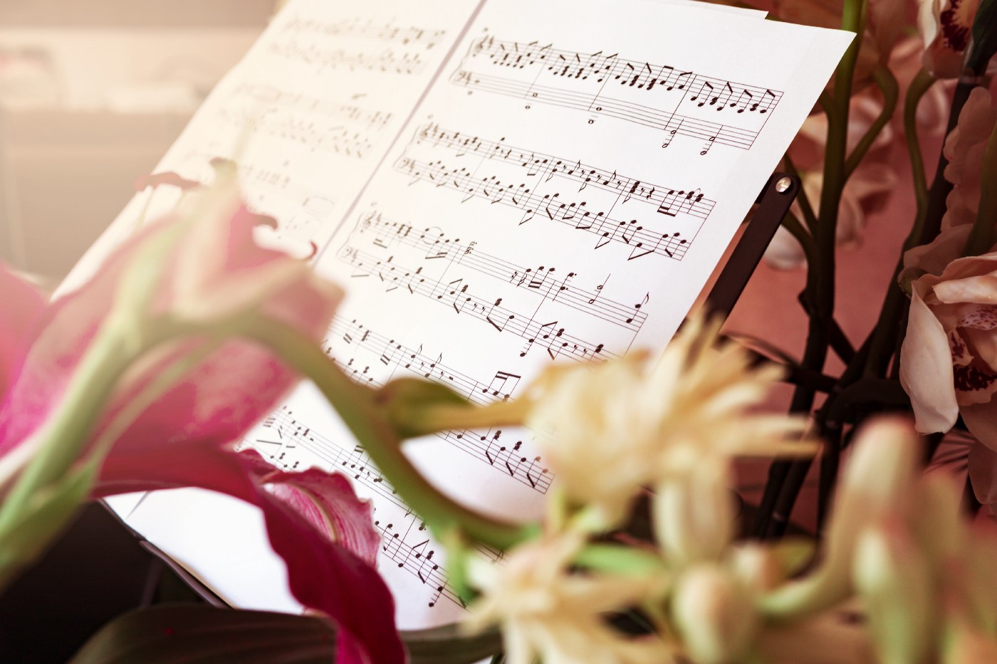 A piece of sheet music on a wire music stand with some tulips in the foreground.