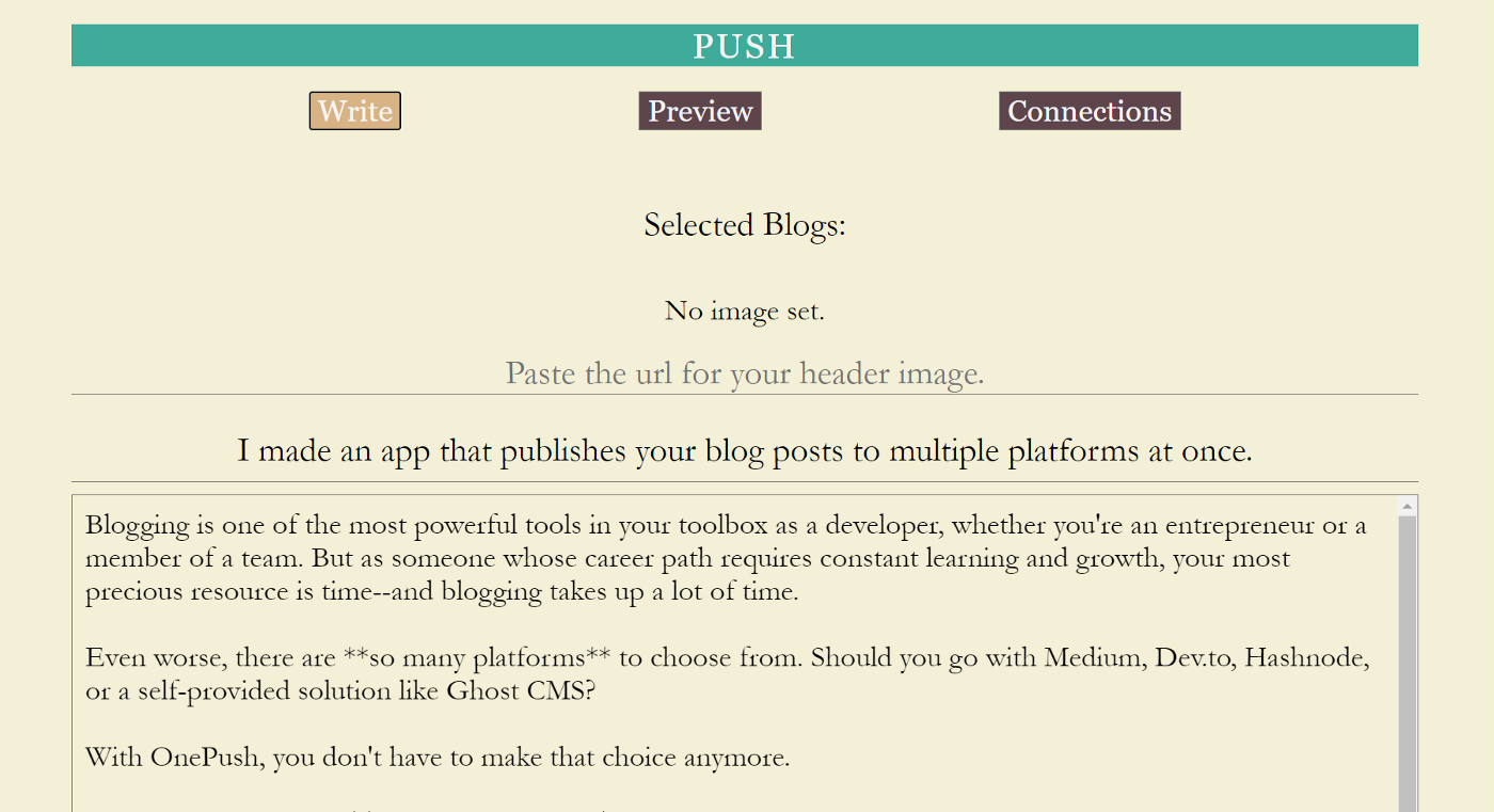Cover Image/Header Image for I made an app that publishes your blog posts to multiple platforms at once.