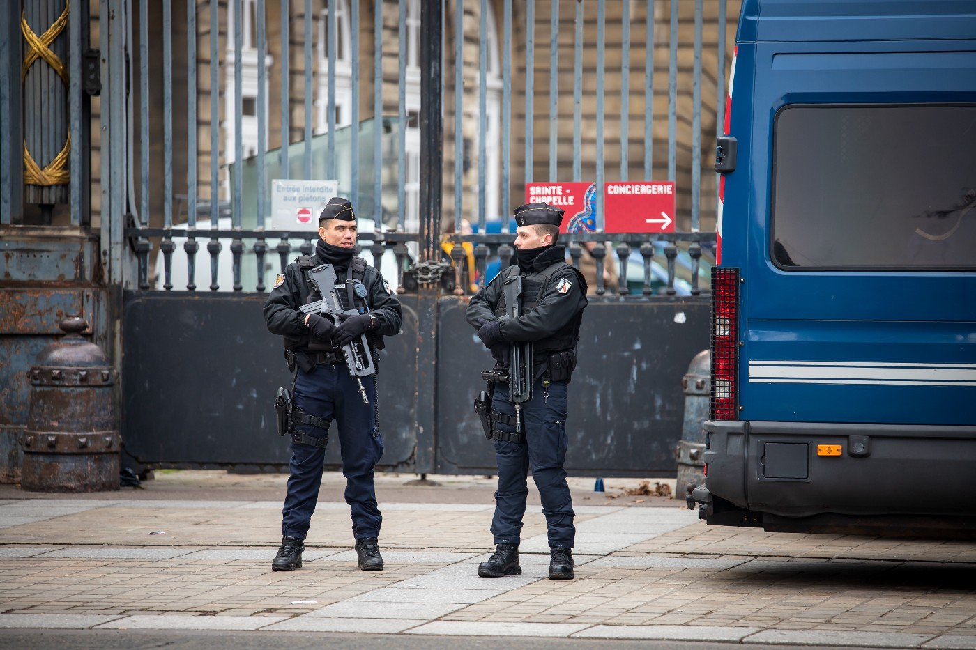 Police in France guard a gate
