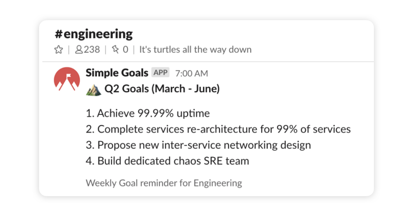 """A Slack message from Simple Goals in a Slack channel called """"engineering"""". The message shows a weekly goal reminder with quarter 2 goals."""