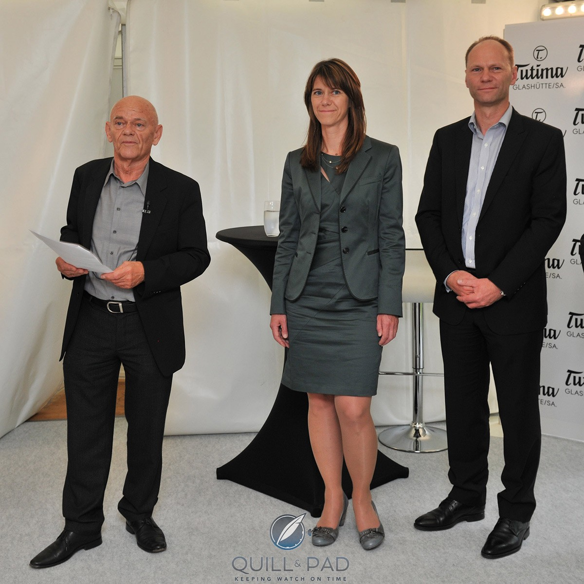 Delecate family left to right: Dieter Delecate, Ute Delecate, and Jörg Delecate at the Glashütte factory opening in 2011