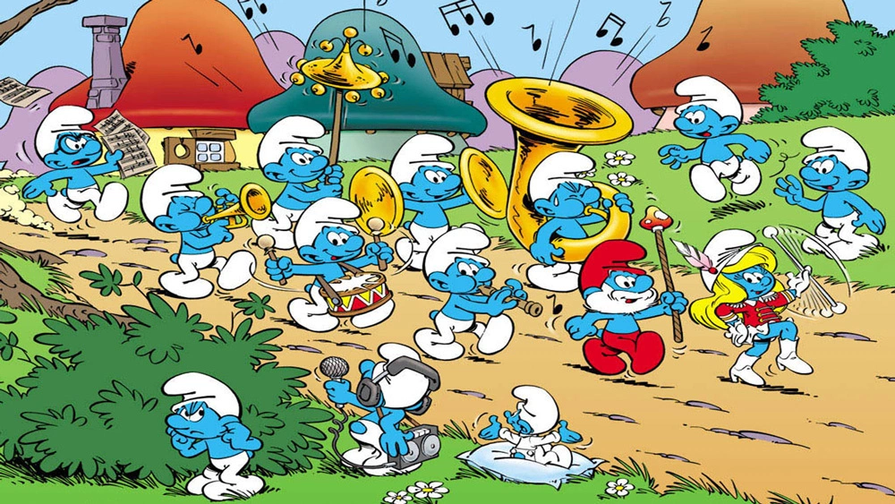 Cartoon of the Smurfs in a marching band