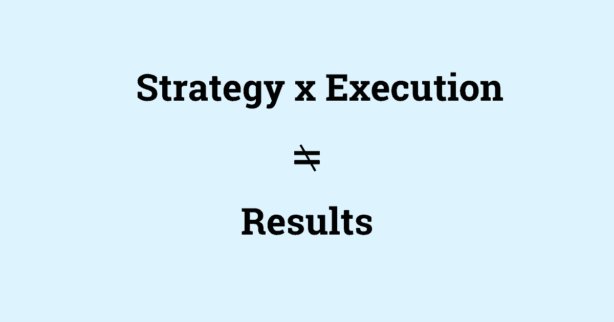 """the phrase """"strategy times execution does not equal results"""""""