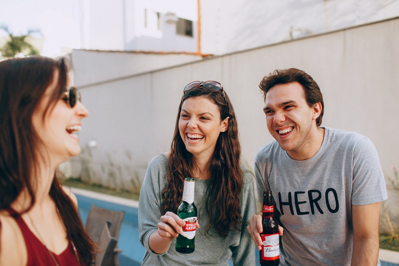 A group of friends drinking and laughing together