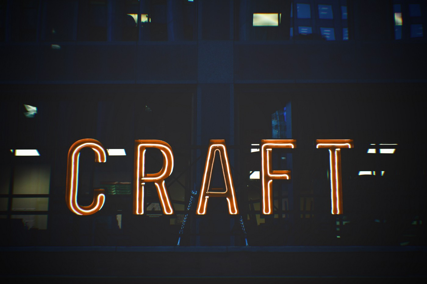 "the word ""craft"" as a neon sign"