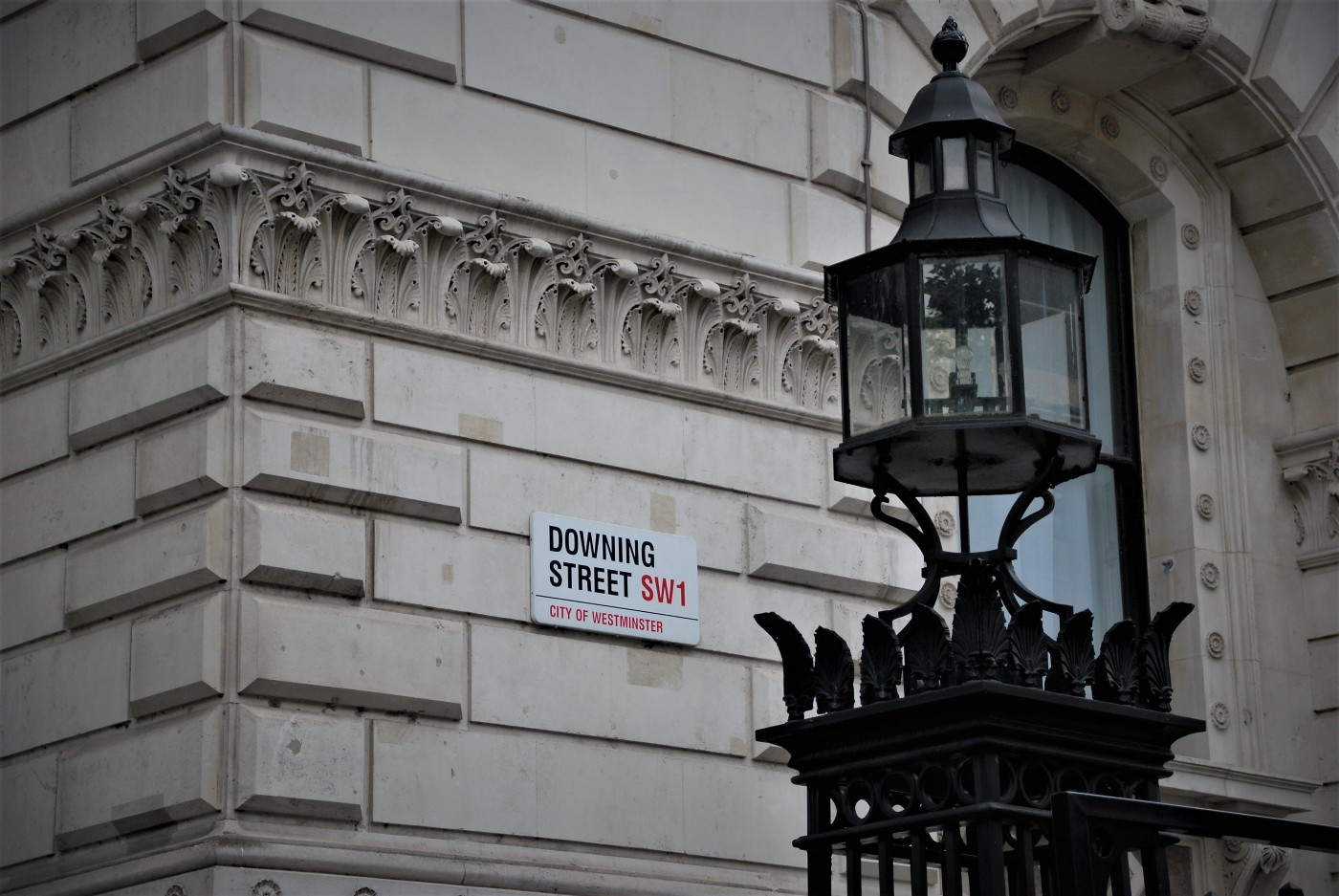 Close up of the Downing Street plate corner.