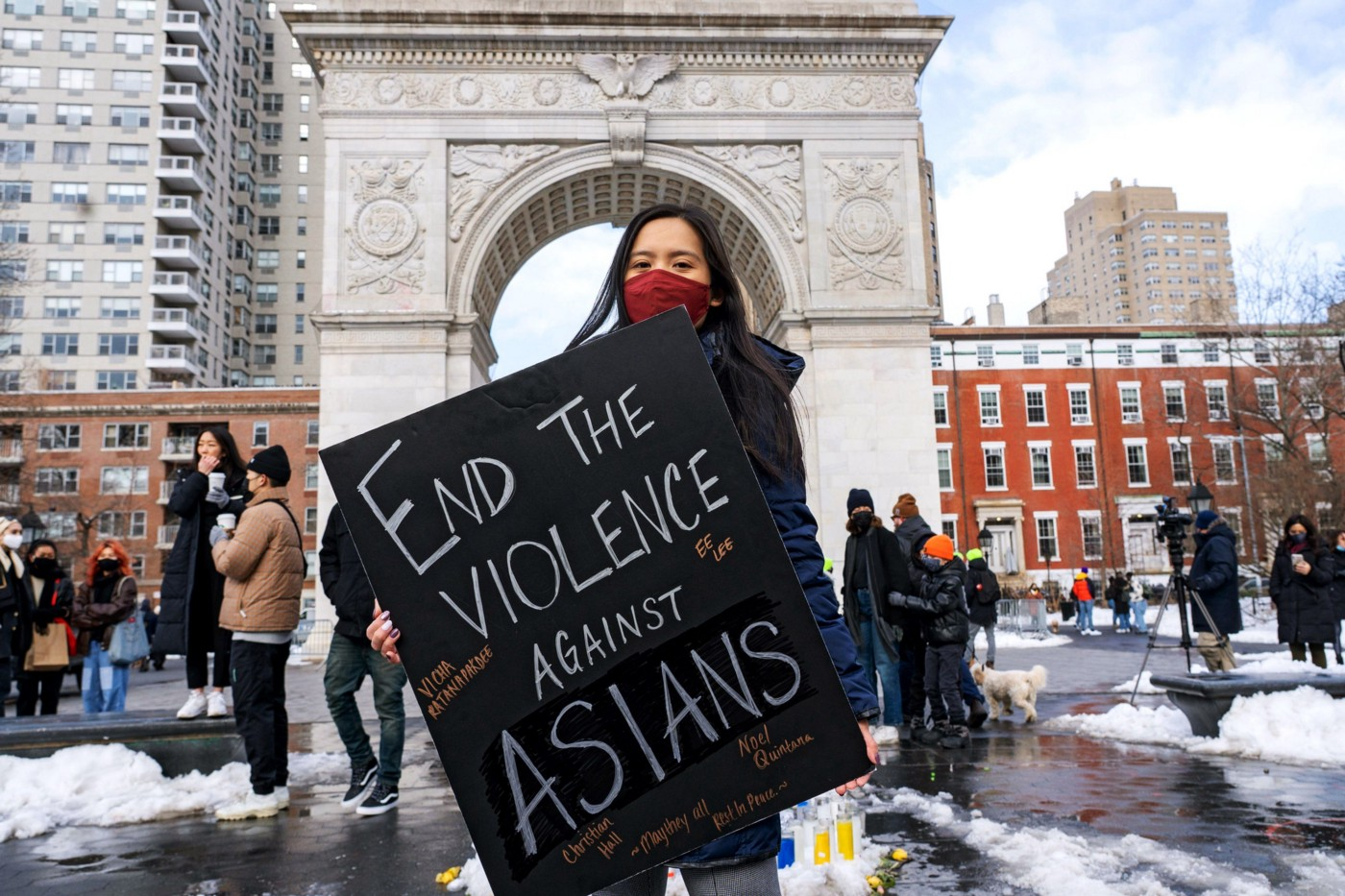 Woman protesting against anti-asian violence