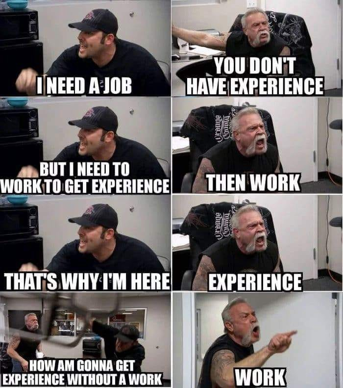 You need a job to get experience, and you need experience to get a job MEME
