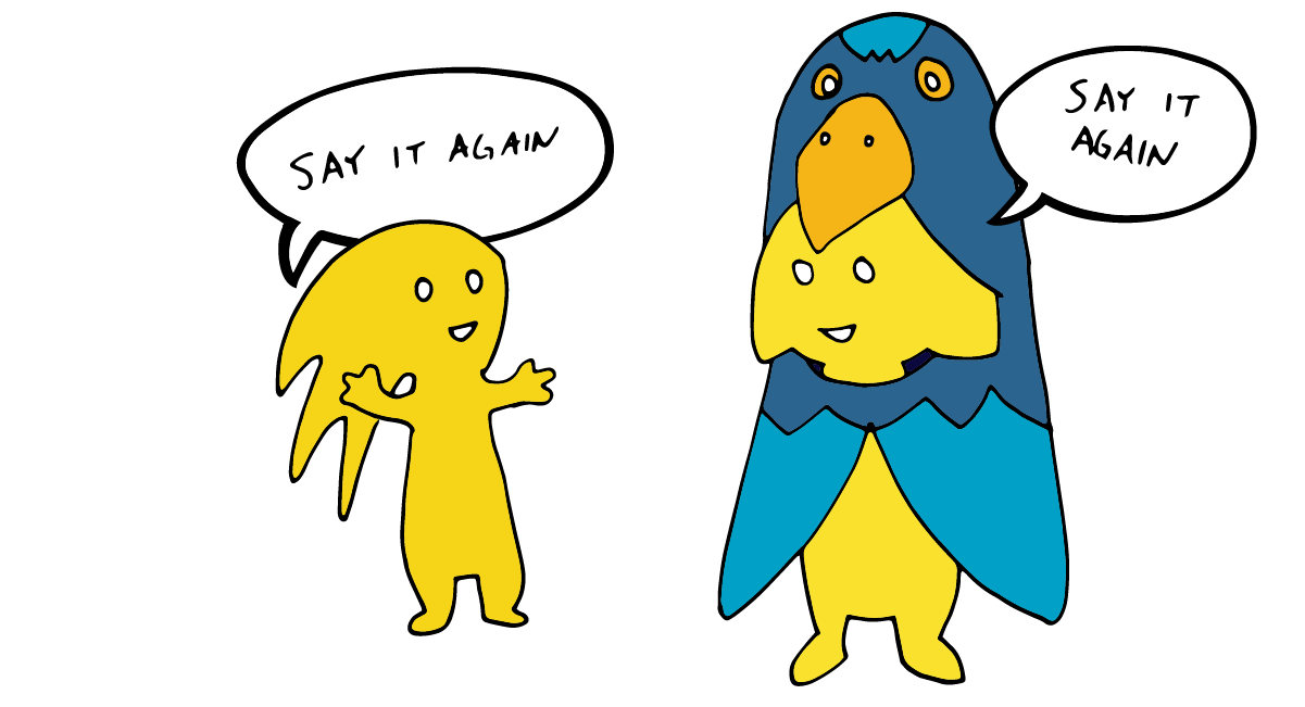 "Illustration of a manager practicing the parroting technique. The manager asks an employee to ""Say it again,"" which the employee repeats."