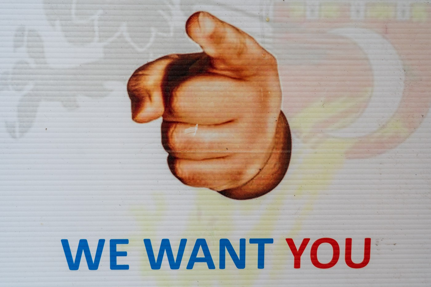 the we want you sign for trying to get persons to join the armed forces