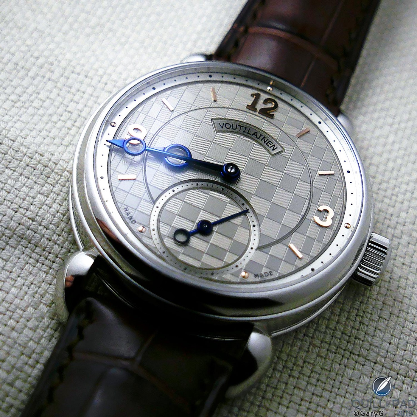 Voutilainen Vingt-8 with guilloche dial and 37.5mm case