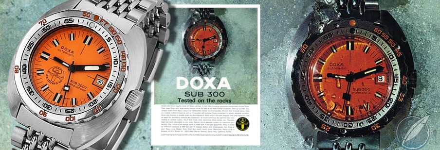 Advertisement for the Doxa Sub 300T with helium escape valve