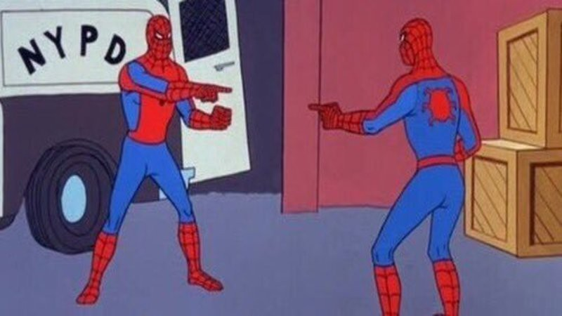 2 Spidermans pointing at each other