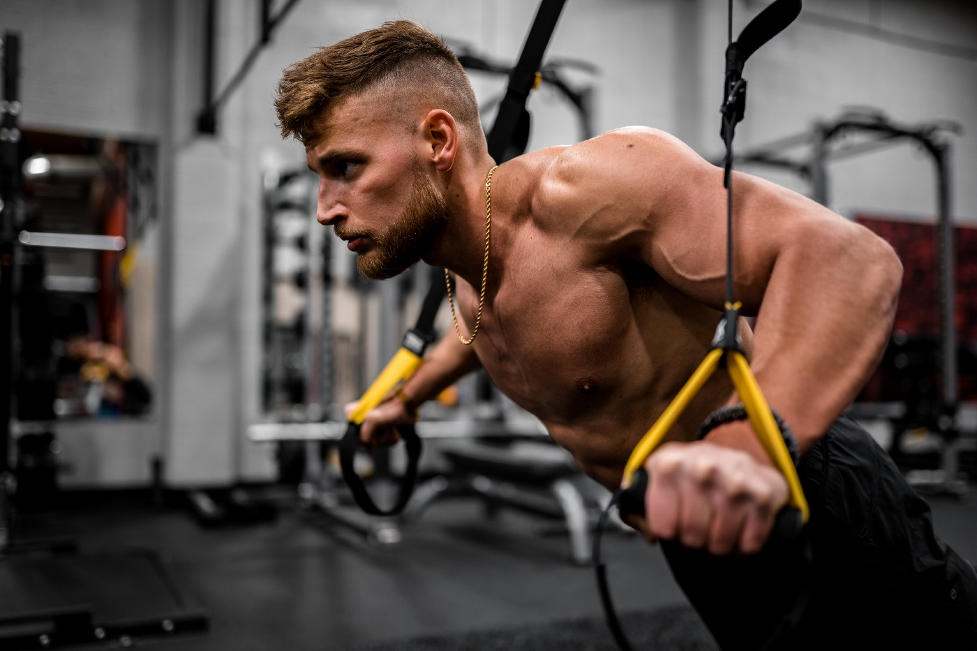 A muscular man working out