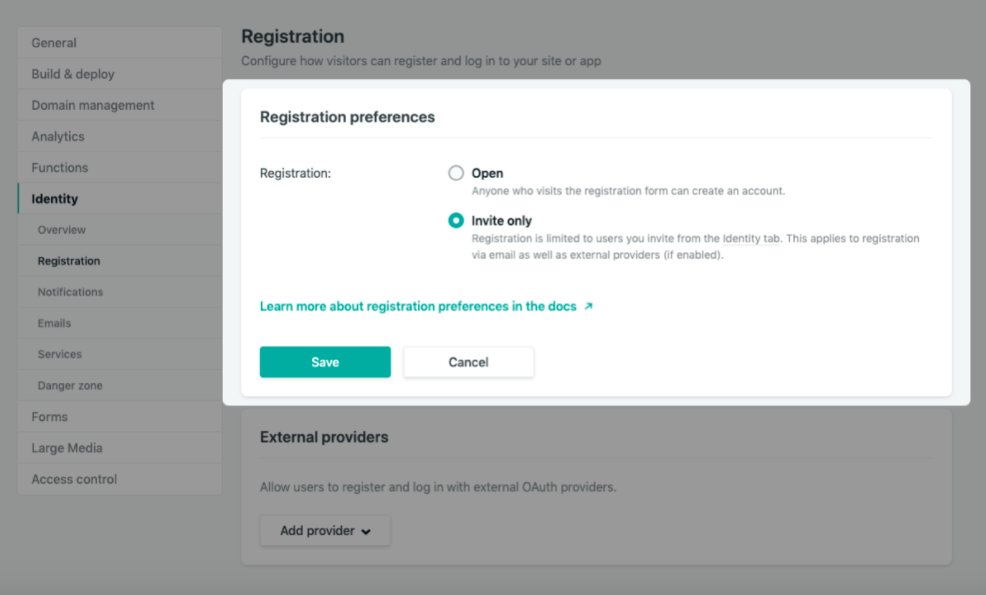 User authentication using Netlify cms