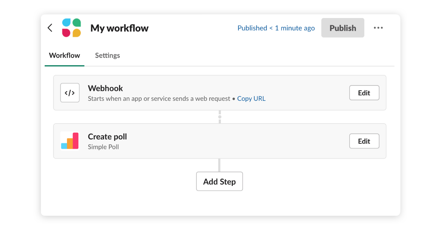 """Workflow created using Workflow Builder that includes a """"Create poll"""" step from the Simple Poll app."""