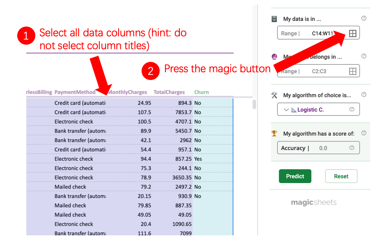 Image showing step by step how to select the data to be used in the model.