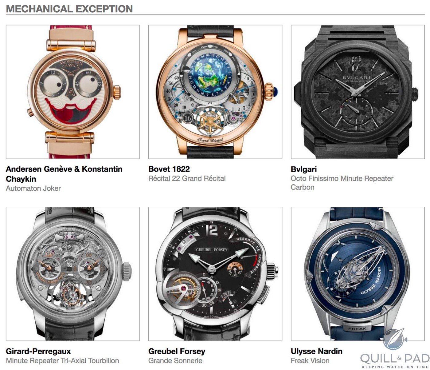 Mechanical-Exception category pre-selected watches for the 2018 Grand Prix d'Horlogerie de Genève, clockwise from top left: Andersen Genève & Konstantin Chaykin Automaton Joker, Bovet 1822 Récital 22 Grand Récital, Bulgari Octo Finissimo Minute Repeater Carbon, Girard-Perregaux Minute Repeater Tri-Axial Tourbillon, Greubel Forsey Grande Sonnerie, and Ulysse Nardin Freak Vision