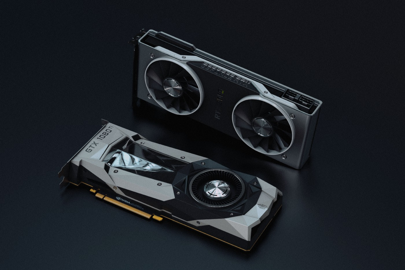 A title image with two graphic cards in front of a dark background.